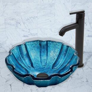 Top Brands of Mediterranean Seashell Glass Circular Vessel Bathroom Sink with Faucet By VIGO