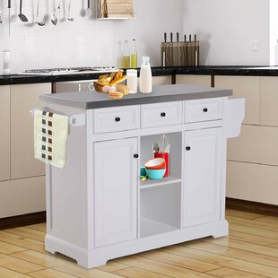 Sallie Kitchen Island with Stainless Steel Top Highland Dunes