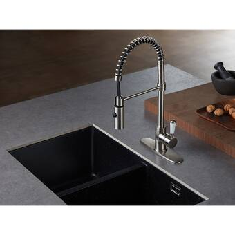 Moen Weymouth Spring Pull Down Single Handle Kitchen Faucet With Power Boost Reviews Wayfair