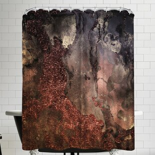Grab My Art Luxury Copper And Bronze Glitter Gold Gem Agate And Marble Texture Shower Curtain ByEast Urban Home