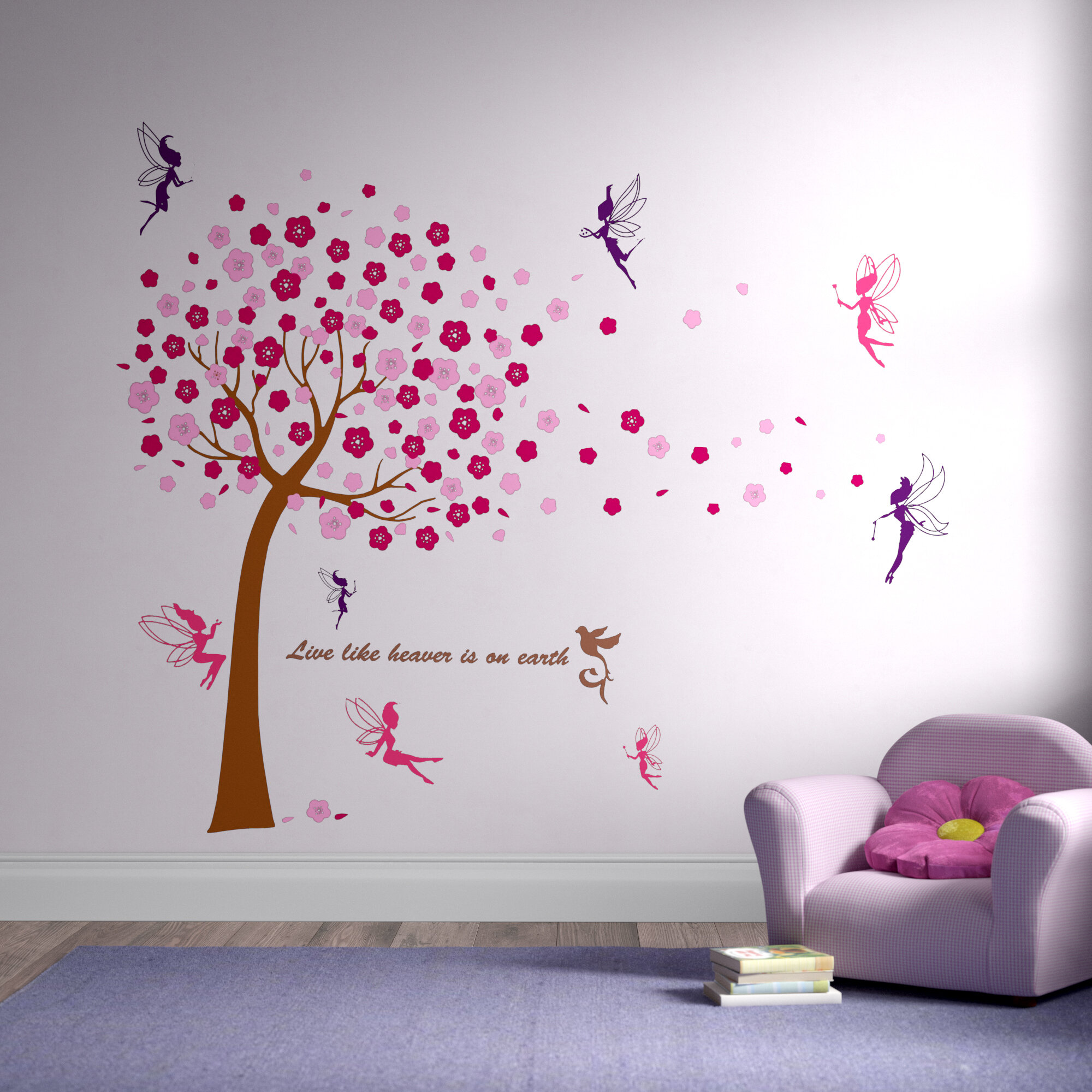 Wall Sticker Waterproof Colourful Flower Bird Cage Butterfly Practical