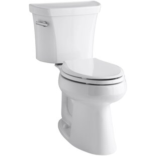 Affordable Highline Two-Piece Elongated 1.28 GPF Toilet with Class Five Flush Technology and Left-Hand Trip Lever ByKohler