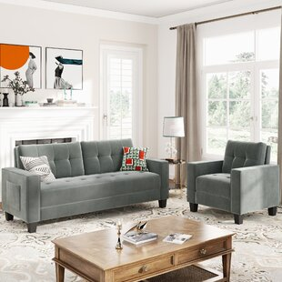 Sofa Set Morden Style Couch Furniture Upholstered Armchair, Loveseat And Three Seat For Home Or Office by Latitude Run