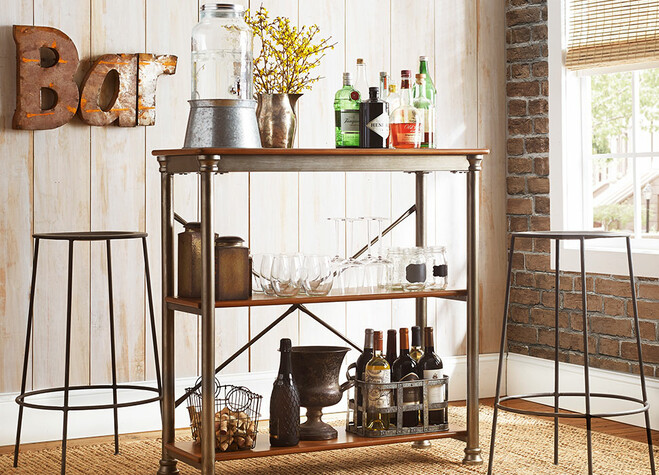 Industrial Barstools, Kitchen Cart