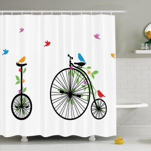 Bicycle Flying Birds Flowers Shower Curtain Set
