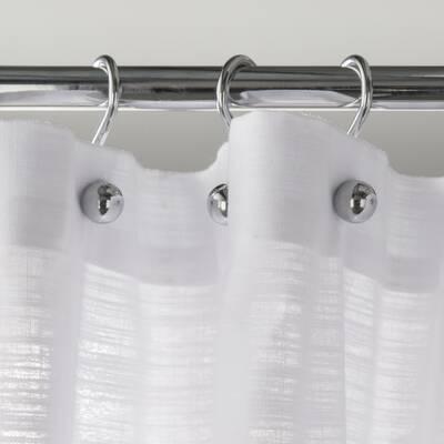 Luna Stainless Steel Button Shower Curtain Hooks Set Of 12