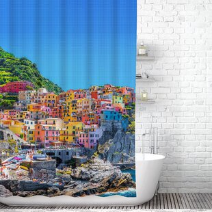 Asotin Colorful Cinque Terre, Hookless Shower Curtain