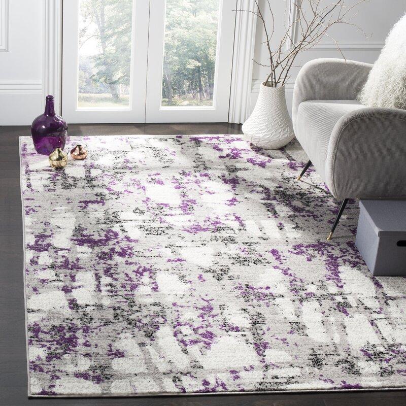 Wrought Studio Cohen Abstract Grey Purple Area Rug Reviews Wayfair