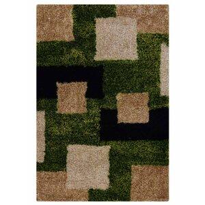 Mayer Geometric Hand Tufted Green/Beige Area Rug