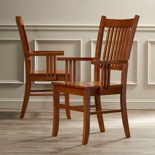 Pemberville Solid Wood Slat back Arm Chair Sienna Brown Set of 2