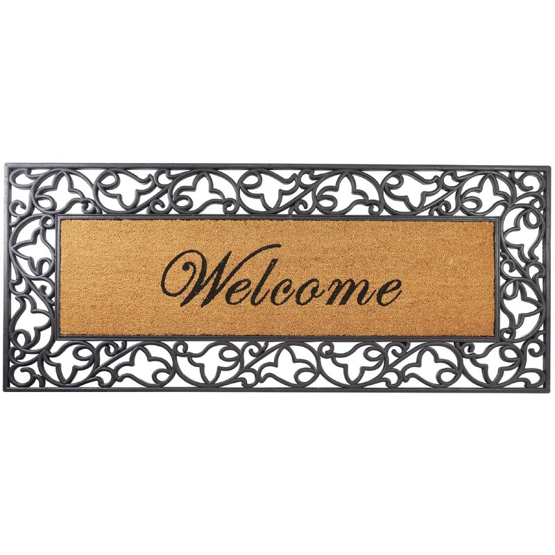 Bower Fl Welcome Wrought Iron Rubber With Coir Doormat