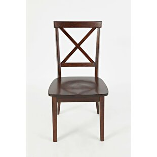 Jake Cross Back Solid Wood Dining Chair (Set of 2) Longshore Tides