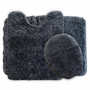 Super Plush Non Slip 3 Piece Bath Rug Set