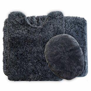 Super Plush Non Slip 3 Piece Bath Rug Set