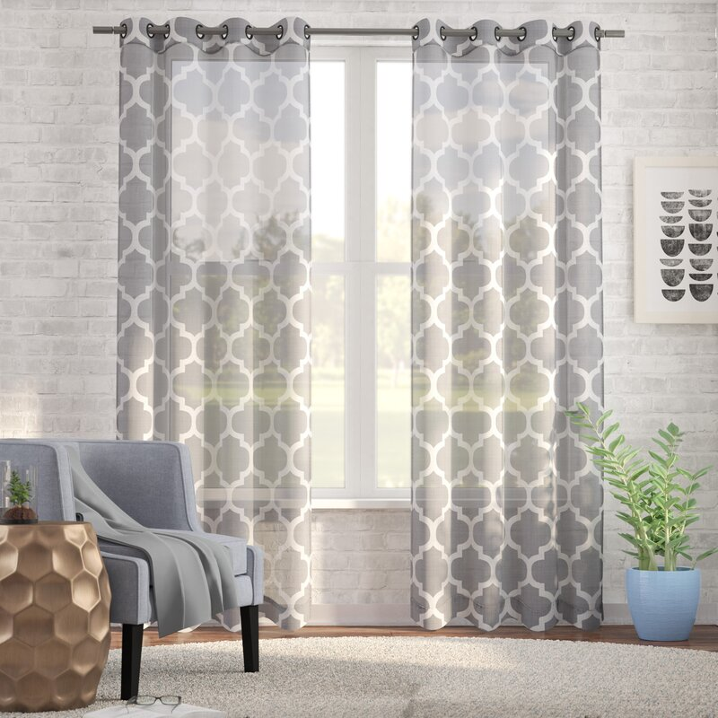 Arrey Basketweave Moroccan Geometric Semi Sheer Grommet Curtain Panels