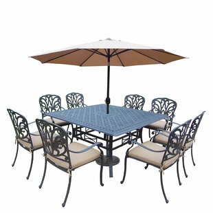 Calorafield 9 Piece Metal Dining Set with Cushions and Umbrella