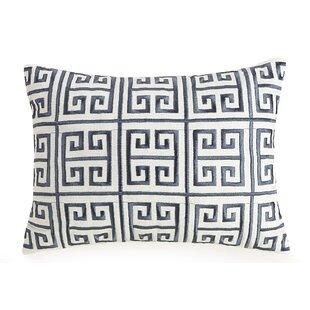 Greek Key Embroidered Cotton Throw Pillow