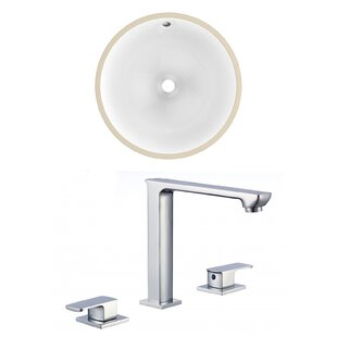 Price comparison Ceramic Circular Undermount Bathroom Sink with Faucet and Overflow By American Imaginations