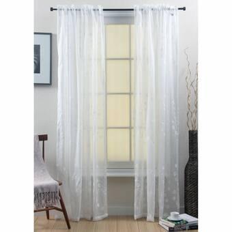 Rosalind Wheeler Stearns Floral Sheer Thermal Rod Pocket Curtain Panels Wayfair