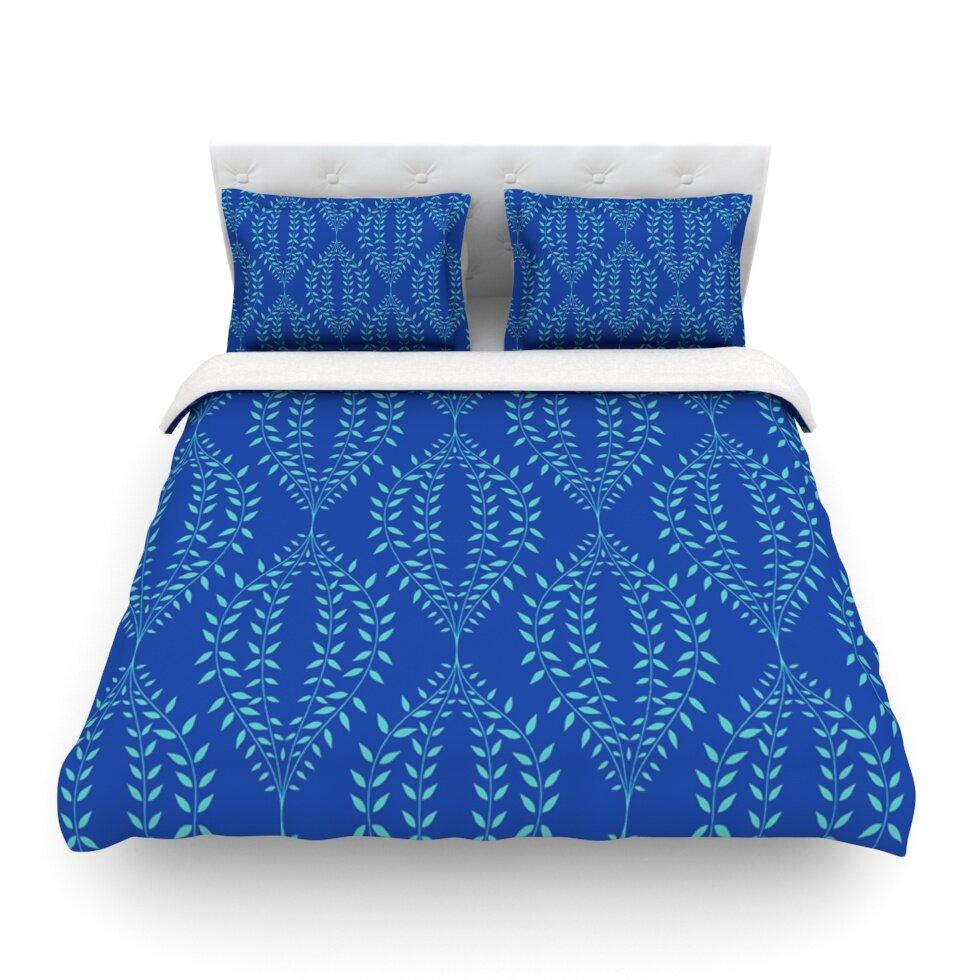 KESS InHouse Strawberringo Leaves Blue White Twin Comforter 68 X 88