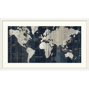 World map framed art youll love wayfair old world map blue graphic art print gumiabroncs Images