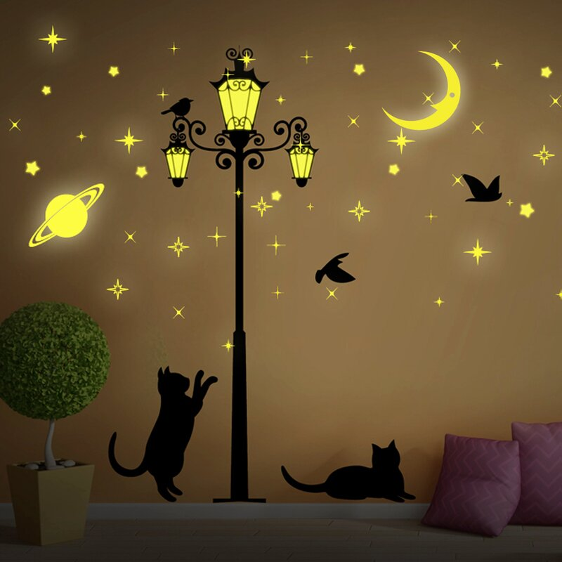 Moon And Stars Glow In Dark Street Light Wall Decal Part 61