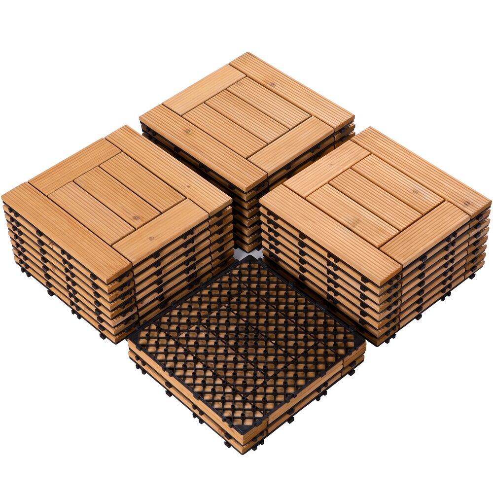 12 x 12 wood interlocking deck tile in brown