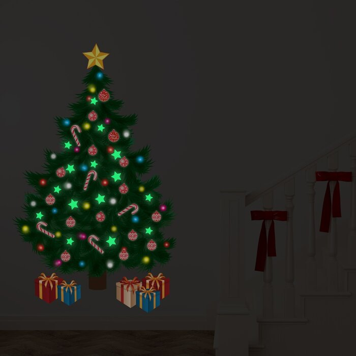 Traditional Christmas Tree.Glow In Dark Traditional Christmas Tree Magic Night Wall Decal