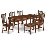 Donita 7 Piece Rubberwood Solid Wood Dining Set by Alcott Hill®