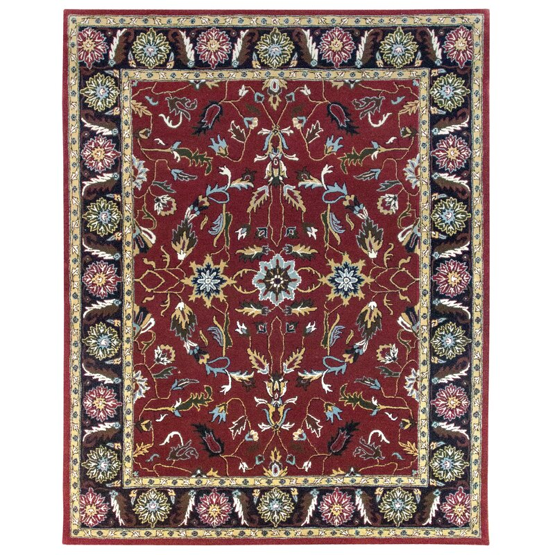 World Menagerie Collision Oriental Handmade Tufted Wool Red Black Area Rug Wayfair