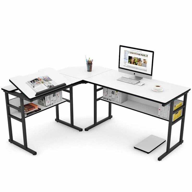 Gentil Steinway Reversible L Shape Drafting Table