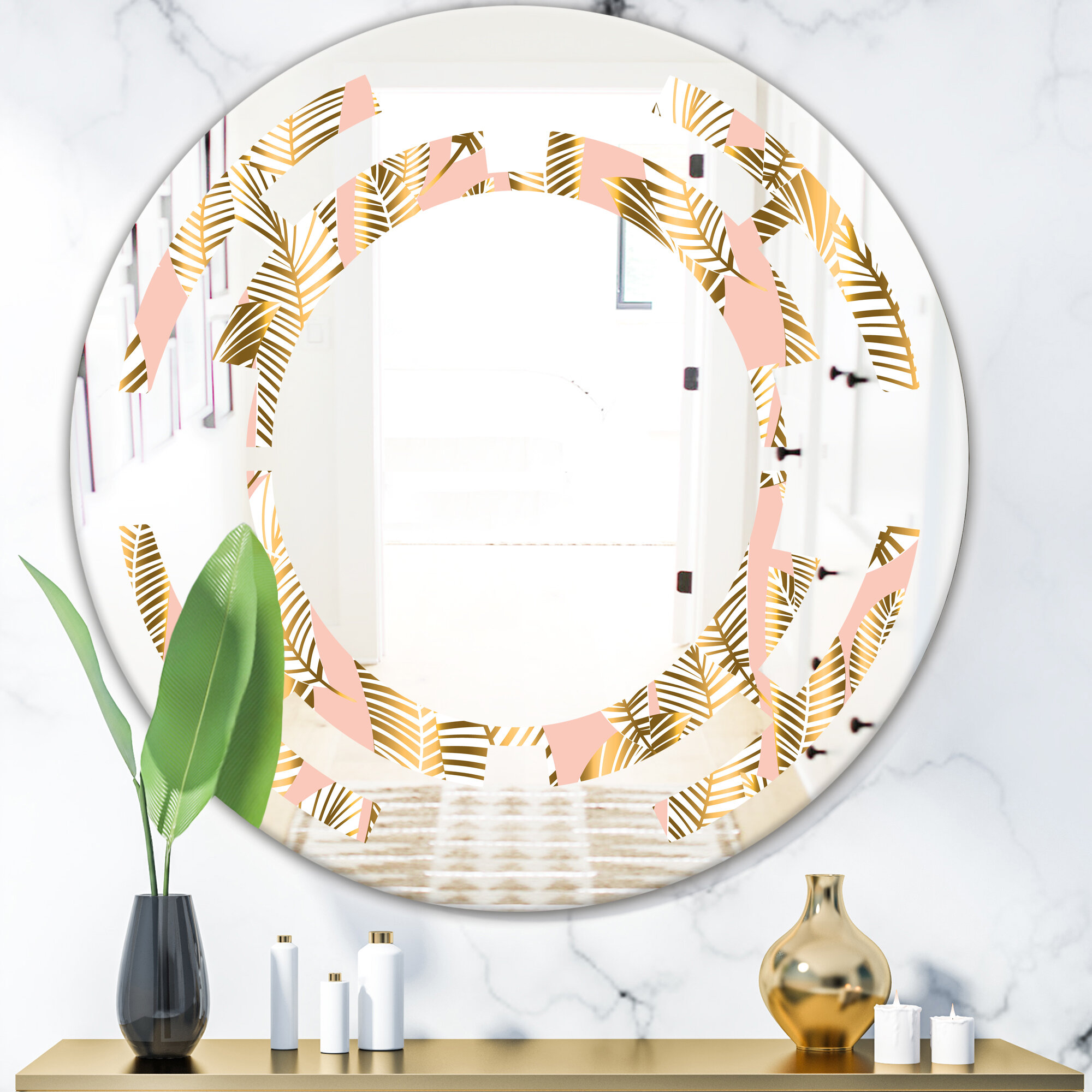 East Urban Home Space Palm Leaves I Cottage Americana Frameless Wall Mirror Wayfair
