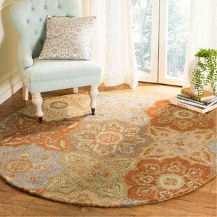 Cranmore Hand-Tufted Wool/Cotton Beige/Orange/Gray Area Rug by Charlton Home