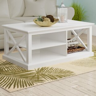 Amityville Solid Wood Floor Shelf Coffee Table with Storage by Beachcrest Home