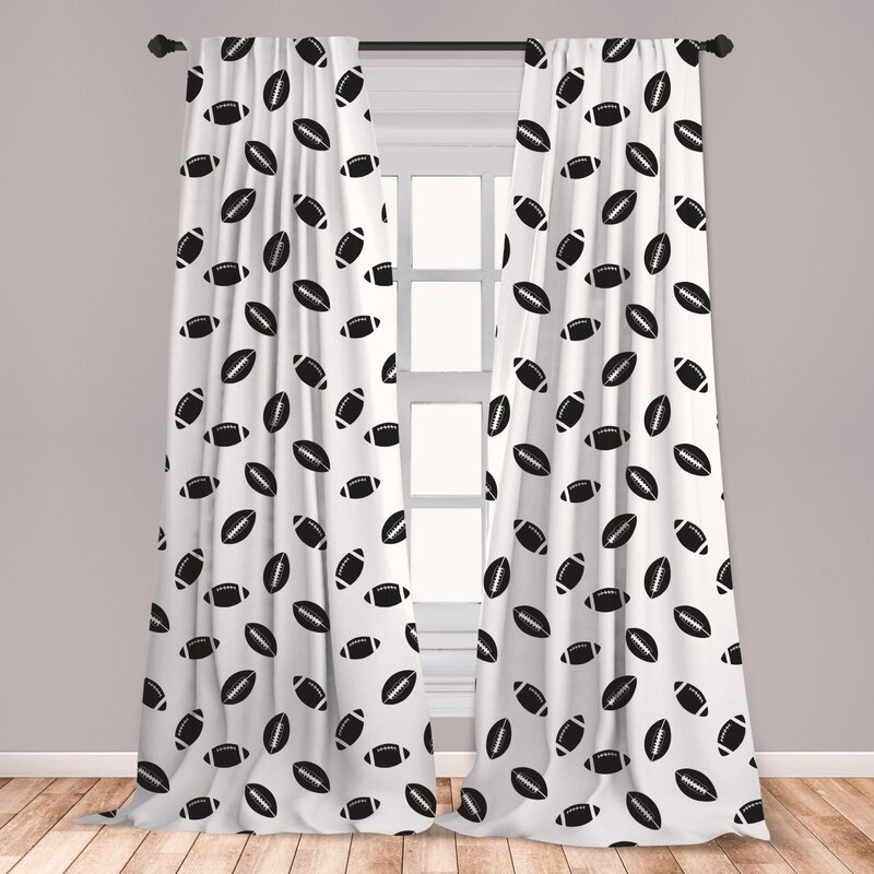 Black White Living Room Bedroom Window Drapes 2 Panel Set Ambesonne Sports Curtains 108 X 84 Heart from The Pile of Footballs Love for Sports Game Match Entertainment Activity