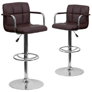 Milam Adjustable Height Swivel Bar Stool (Set of 2) Wrought Studio