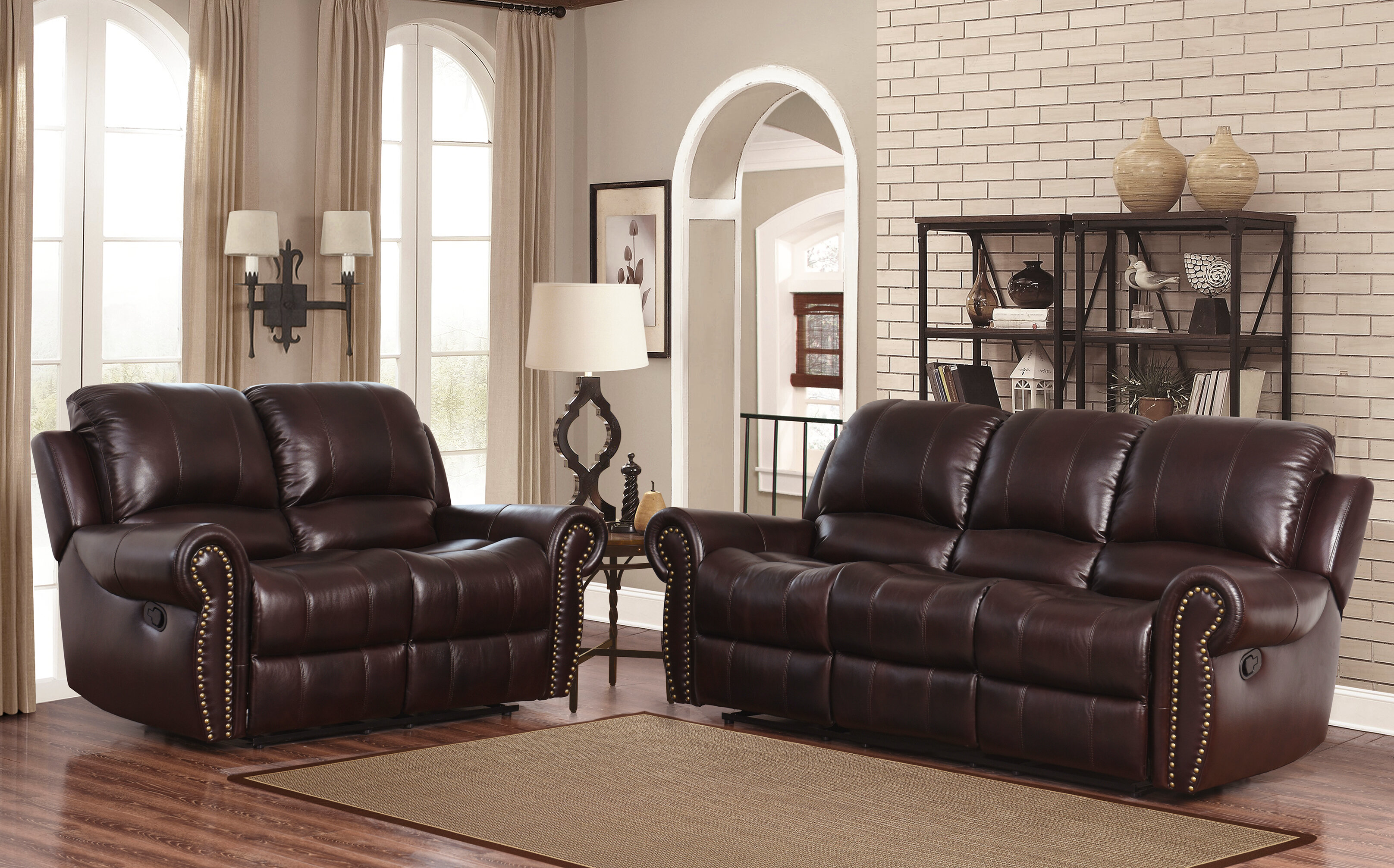 Darby home co barnsdale reclining 2 piece leather living room set reviews wayfair