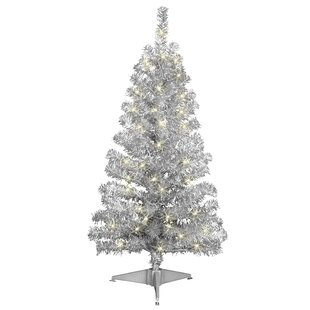 4 silver artificial christmas tree with 70 clear lights with stand