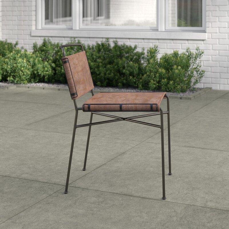 Mercury Row Stoehr Metal Side Chair In Brown Wayfair