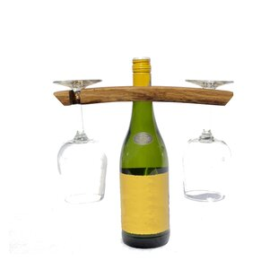 Rish Butler 1 Bottle Tabletop Wine Bottle and Glass Rack