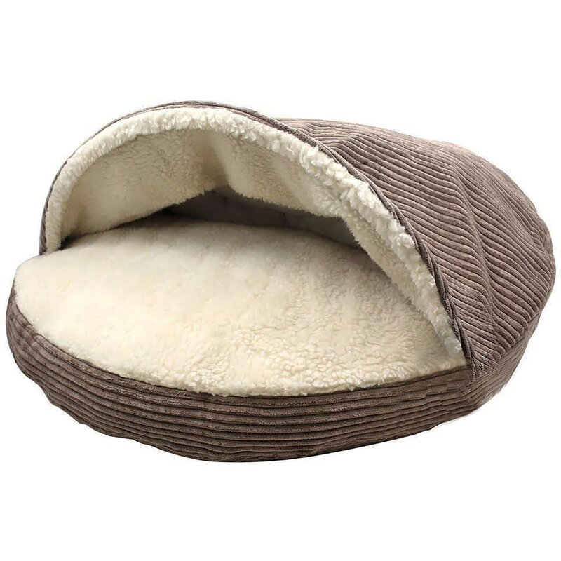 Tucker Murphy Pet Burton Corduroy Sherpa Lined Cave Hooded Dog Bed Reviews Wayfair