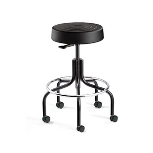 ErgoLux Backless Stool with Dual-Wheel Hard Floor Casters