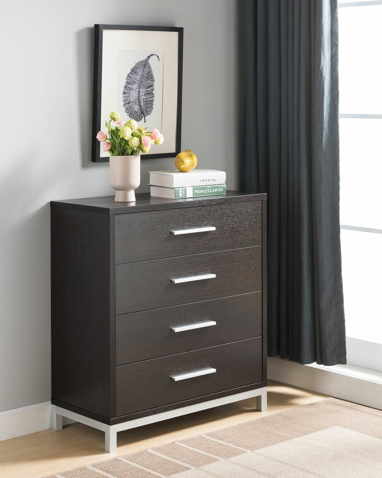 """Epple Creative Modern Contemporary Style 10"""" l X 10"""" w X 10"""" h Office Home  Bedroom Wooden Utility Storage Cabinet Dresser Chest 10 Drawers Red Cocoa"""