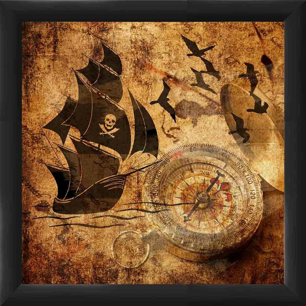 Ptm Images Pirate Flag Framed Graphic Art Wayfair