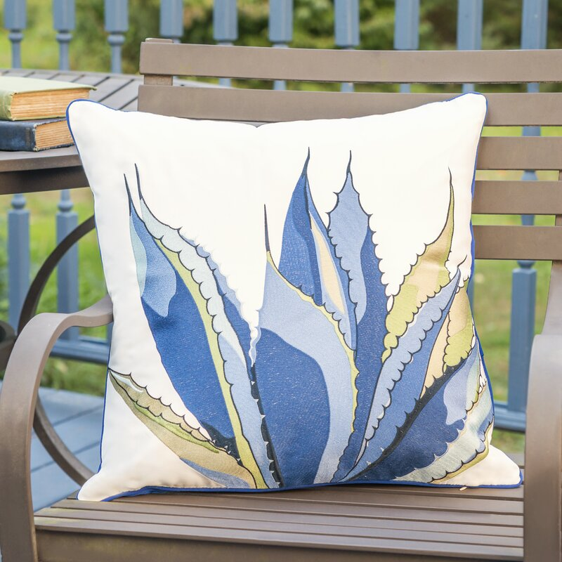 Union Rustic Stijn Agave Embroidered Indoor Outdoor Square Ofelin Throw Pillow Reviews Wayfair