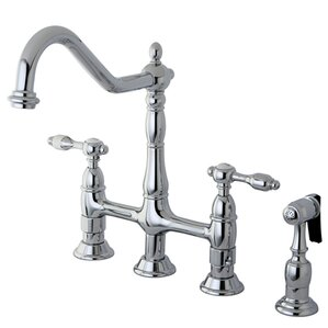 Kingston Brass Tudor Double Handle Widespread Kitchen Faucet with Brass Spray