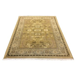 Buy clear One-of-a-Kind Drumroan Hand-Knotted Wool Green Area Rug By Canora Grey