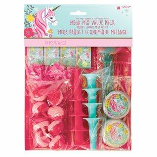 96 Piece Magical Unicorn Mega Mix Plastic Disposable Party Favor Set