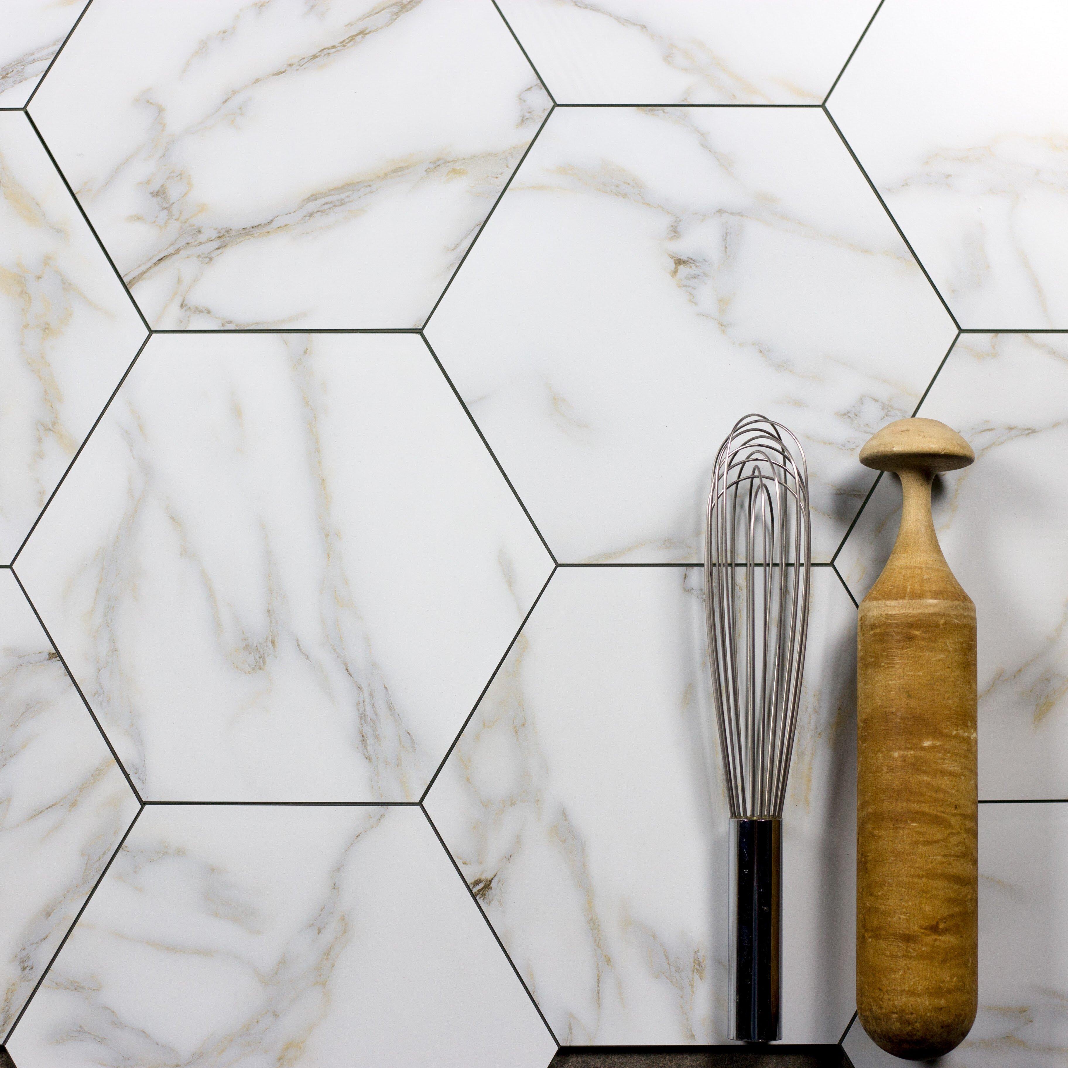 - Abolos Nature Calacatta Gold 8 X 8 Glass Mosaic Tile Wayfair