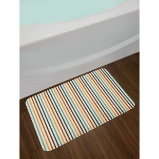 Vertical Stripes Abstract Geometric Scribble Line Pattern Vintage Inspired Bath Rug